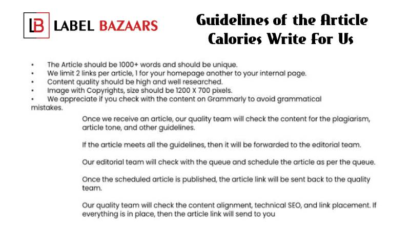 Guidelines Calories Write For Us