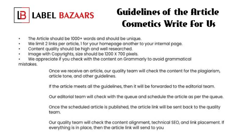 Guidelines Cosmetics Write For Us