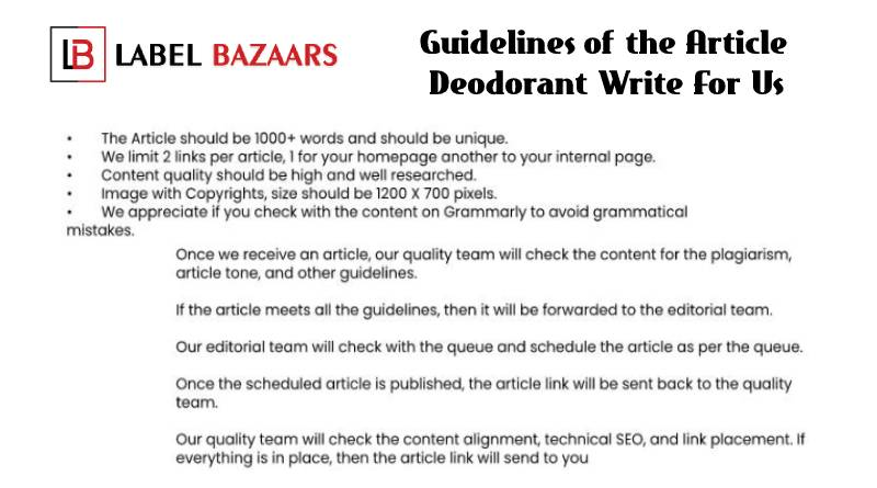 Guidelines Deodorant Write For Us