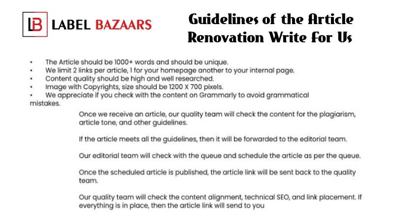 Guidelines Renovation Write For Us