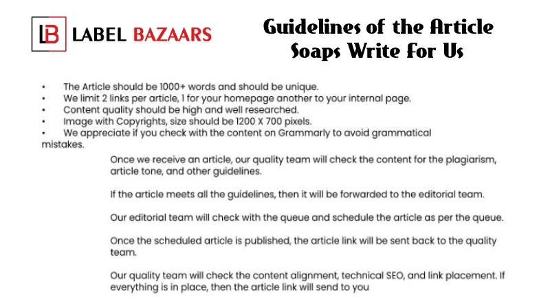 Guidelines Soaps write for us