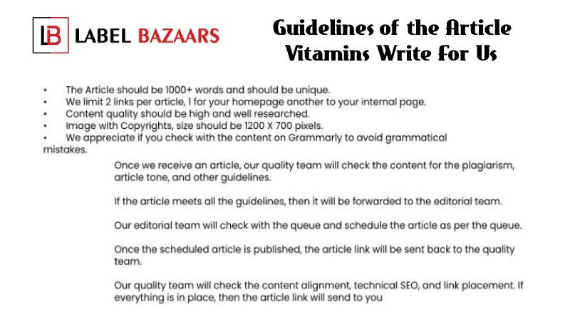 Guidelines Vitamins Write For Us