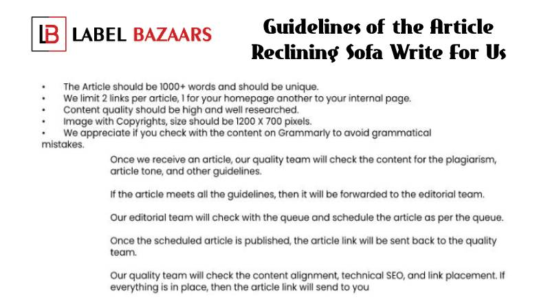 guidelines Reclining Sofa write for us